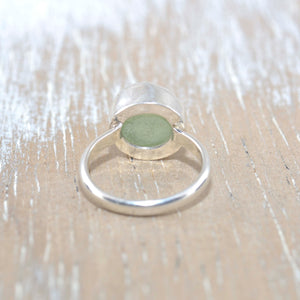 Sea glass ring in sterling silver (R243)
