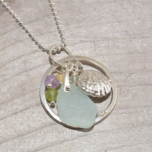 Load image into Gallery viewer, Pendant necklace with sea glass accented with an amethyst, honey onyx, peridot and aquamarine dangle and a shell in sterling silver. (N292)