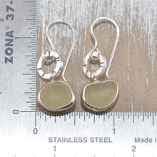 Load image into Gallery viewer, Artisan earrings crafted from yellow sea glass in sterling silver. (E330)