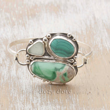 Load image into Gallery viewer, Statement cuff bracelet of Variscite, Malachite and sea glass is a handmade setting of tarnish resistant Argentium ® sterling silver. (B373)