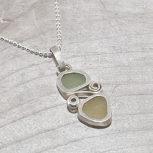 Load image into Gallery viewer, Two piece soft green and yellow sea glass pendant accented with a sparkly peridot in sterling silver. (N386)