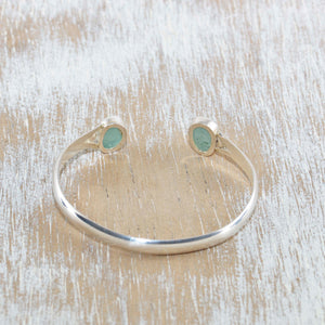 Sea glass cuff bracelet in a hand made sterling silver setting. (B399)
