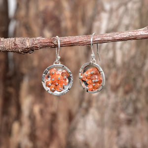 Sea glass and honey onyx dangle earrings in sterling silver (E405)