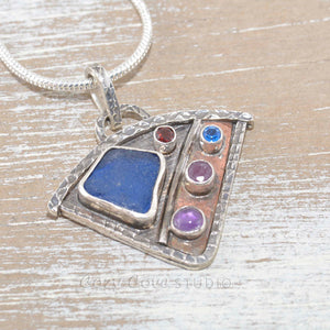 Seaglass pendant necklace in mixed metals of sterling silver and copper (N438)