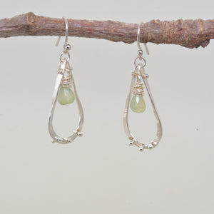 Briolettes of semi-precious soft green prehnite dangle from sterling silver teardrops (E450)