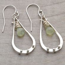 Load image into Gallery viewer, Briolettes of semi-precious soft green prehnite dangle from sterling silver teardrops