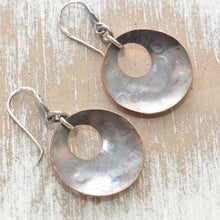 Load image into Gallery viewer, Whimsical handstamped mixed metal earrings of sterling silver and copper. (E453)
