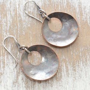 Whimsical handstamped mixed metal earrings of sterling silver and copper. (E453)