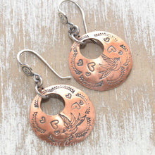 Load image into Gallery viewer, Whimsical handstamped mixed metal earrings of sterling silver and copper.