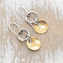 Load image into Gallery viewer, Whimsical handstamped mixed metal earrings of sterling silver and brass. (E454)