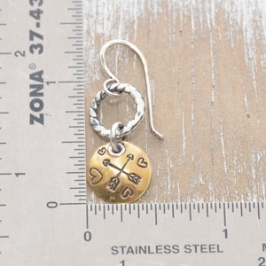 Whimsical handstamped mixed metal earrings of sterling silver and brass. (E454)