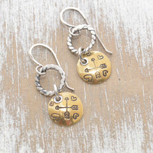 Load image into Gallery viewer, Whimsical handstamped mixed metal earrings of sterling silver and brass.