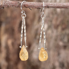 Load image into Gallery viewer, Handmade trapeze earrings with  semi-precious citrine briolettes suspended by sterling silver rivets. (E464)