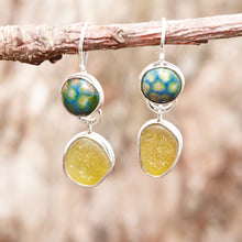 Load image into Gallery viewer, Sea glass and enamel earrings accented with sparkly green CZs in sterling silver settings. (E465)