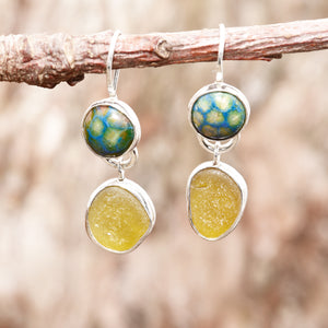Sea glass and enamel earrings accented with sparkly green CZs in sterling silver settings. (E465)