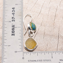 Load image into Gallery viewer, Sea glass and enamel earrings  in sterling silver settings. (E465)