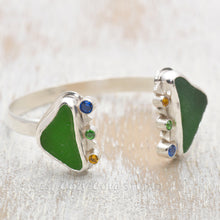 Load image into Gallery viewer, Cuff bracelet with kelly green sea glass accented with sparkly cubic zirconias in a hand crafted setting of tarnish resistant sterling silver. (B484)