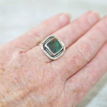 Load image into Gallery viewer, Statement ring with a cupric malachite cabochon in a hand crafted setting of tarnish resistant sterling silver. (R488)