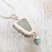 Load image into Gallery viewer, Sea glass pendant necklace hand crafted of tarnish resistant sterling silver accented with an amazonite dangle. (N490)