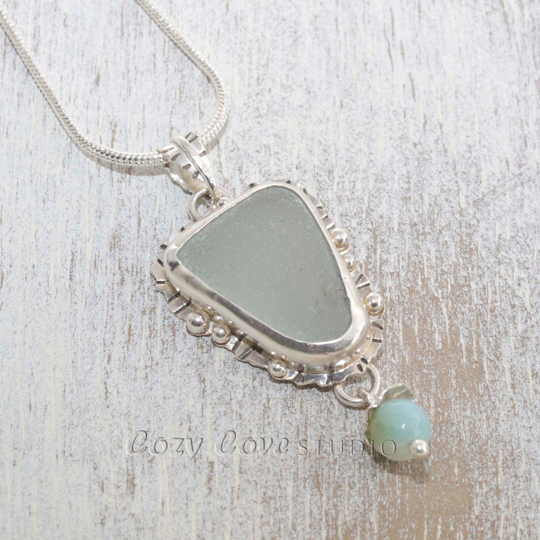 Sea glass pendant necklace hand crafted of tarnish resistant sterling silver accented with an amazonite dangle. (N490)