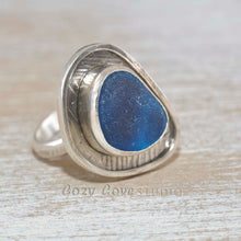 Load image into Gallery viewer, Sea glass ring with rare English multi in a hand crafted setting of tarnish resistant sterling silver. (R500)