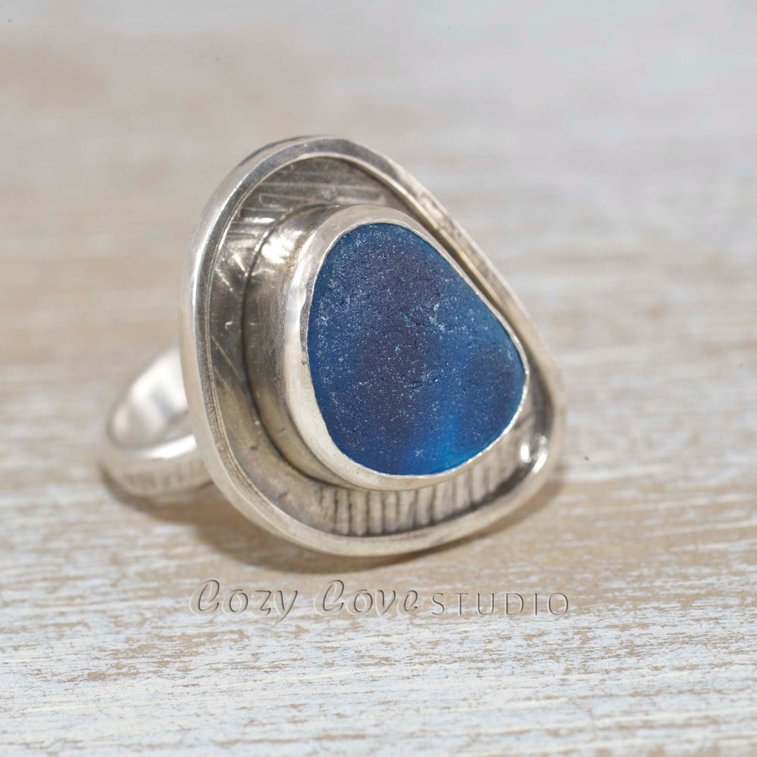 Sea glass ring with rare English multi in a hand crafted setting of tarnish resistant sterling silver. (R500)