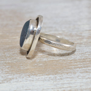 Sea glass ring with rare English multi in a hand crafted setting of tarnish resistant sterling silver. (R501)
