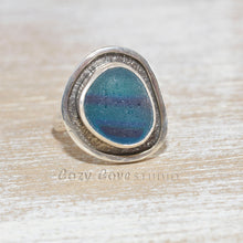 Load image into Gallery viewer, Sea glass ring with rare English multi in a hand crafted setting of tarnish resistant sterling silver. (R501)