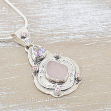 Load image into Gallery viewer, Boho style sea glass pendant with rare pink sea glass in a hand crafted sterling silver setting accented with sparkly CZs. (N511)