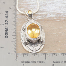 Load image into Gallery viewer, Boho style citrine necklace in a hand crafted sterling silver setting. (N512)