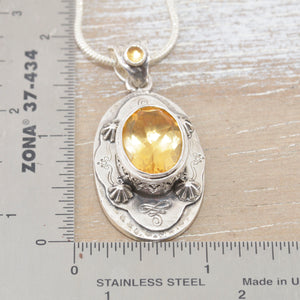 Boho style citrine necklace in a hand crafted sterling silver setting. (N512)