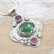 Load image into Gallery viewer, Boho style pendant necklace with a large green tourmaline in  hand crafted sterling silver setting accented with watermelon tourmaline slices. (N513)
