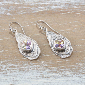 Boho style earrings with sparkly pink and yellow cubic zirconias in handcrafted settings of sterling silver.