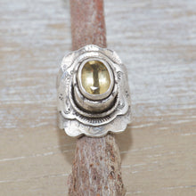 Load image into Gallery viewer, Boho style ring with a sparkly golden topaz in a hand crafted setting of sterling silver. (R516)