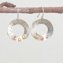Load image into Gallery viewer, Handcrafted sterling silver earrings accented with tourmaline beads. (E542)