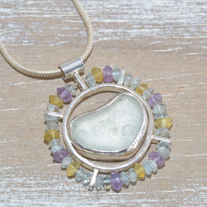 Sea glass pendant necklace with semi-precious beads of aquamarine, onyx and amethyst in sterling silver. (N544)