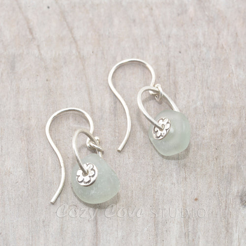 Sea glass with pale blue sea glass earrings in sterling silver.
