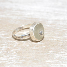 Load image into Gallery viewer, Sea glass ring with a hand crafted stud in a setting of fine and sterling silver. (R558)