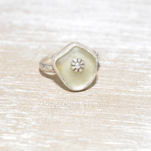 Load image into Gallery viewer, Sea glass ring with a hand crafted stud in a setting of fine and sterling silver. (R559)