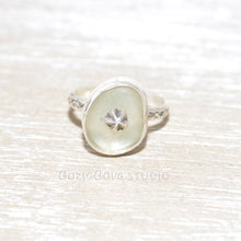 Load image into Gallery viewer, Sea glass ring with a hand crafted stud in a setting of fine and sterling silver. (R560)