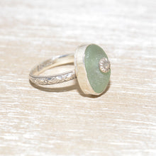 Load image into Gallery viewer, Sea glass ring with a hand crafted stud in a setting of fine and sterling silver. (R562)