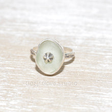 Load image into Gallery viewer, Sea glass ring with a hand crafted stud in a setting of fine and sterling silver. (R563)