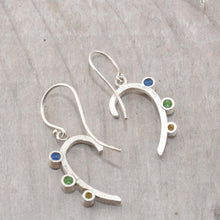 Load image into Gallery viewer, Sparkly dangle earrings with colorful cubic zironias in hand crafted settings of sterling silver. (E582)
