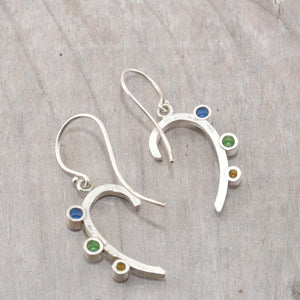Sparkly dangle earrings with colorful cubic zironias in hand crafted settings of sterling silver. (E582)