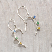 Load image into Gallery viewer, Sparkly dangle earrings with colorful cubic zironias in hand crafted settings of sterling silver.