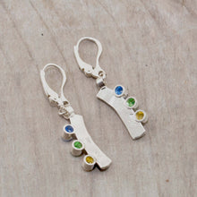 Load image into Gallery viewer, Sparkly dangle earrings with colorful cubic zironias in hand crafted settings of sterling silver. (E583)