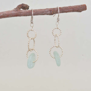 Sea glass dangle earrings on circle of sterling silver beaded wire. (E593)