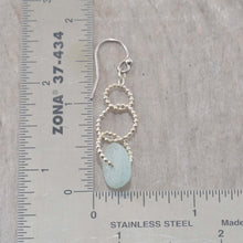 Load image into Gallery viewer, Sea glass dangle earrings on circle of sterling silver beaded wire. (E593)