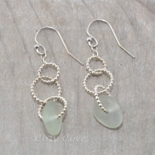 Load image into Gallery viewer, Sea glass dangle earrings on circle of sterling silver beaded wire.