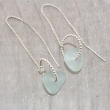 Load image into Gallery viewer, Sea glass threader earrings in sterling silver.